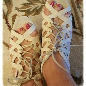 IVORY SUEDE STRAPPY SANDALS